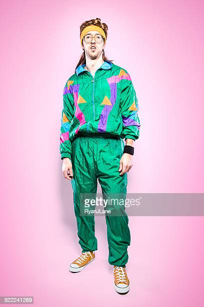 mullet man with eighties fashion style - 20th century stock pictures, royalty-free photos & images