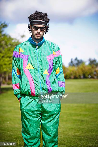 mullet runner with 1980's-1990's fashion style - tracksuit bottoms stock pictures, royalty-free photos & images