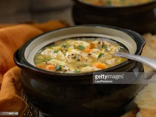 sopa de mulligatawny com naan - chicken soup - fotografias e filmes do acervo