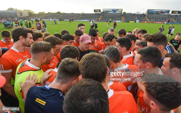 Mullingar Ireland 9 June 2018 Armagh manager Kieran McGeeney speaks to his team following their victory in the GAA Football AllIreland Senior...