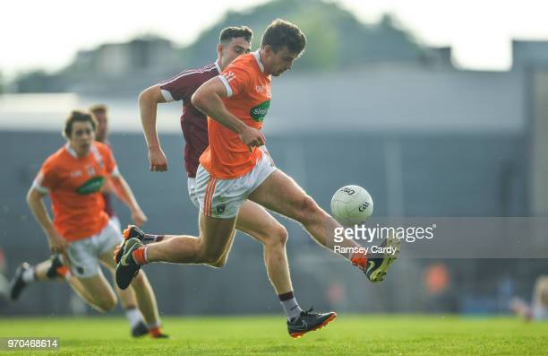 Mullingar Ireland 9 June 2018 Ethan Rafferty of Armagh in action against Sam Duncan of Westmeath during the GAA Football AllIreland Senior...