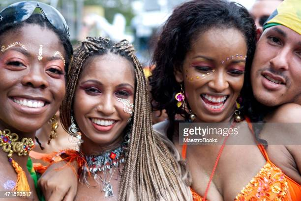 mullticultural carnival revellers - carnival stock photos and pictures
