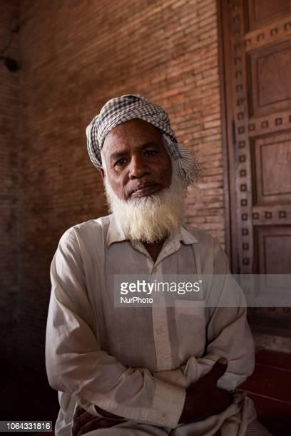 Multan Pakistan 4 October 2018 Portrait of a Sufismist outside the mausoleum of Bahauddin Zakariya Sheikh BahaudDin Zakariya was a Sufi of...