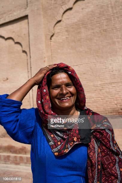 Multan Pakistan 4 October 2018 Portrait of a Sufismist woman outside the mausoleum of Bahauddin Zakariya Sheikh BahaudDin Zakariya was a Sufi of...