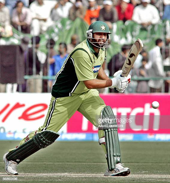 Pakistani cricket captain InzamamulHaq plays a shot against India during the fourth One Day International match between Pakistan and India at The...