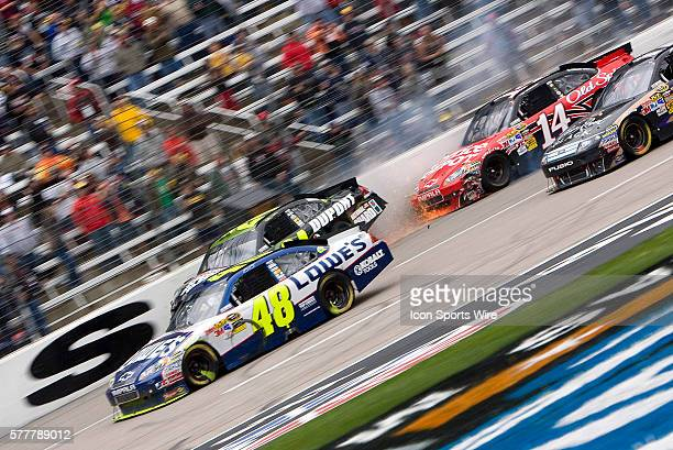 A multi car wreck brings out a red flag at Texas Motor Speedway during the running of the Samsung Mobile 500 race in Fort Worth TX on Apr 19 2010
