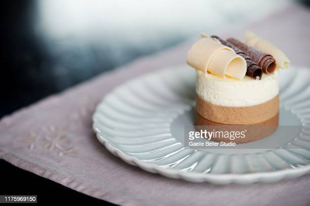 multi chocolate mousse layer cake - chocolate mousse stock pictures, royalty-free photos & images