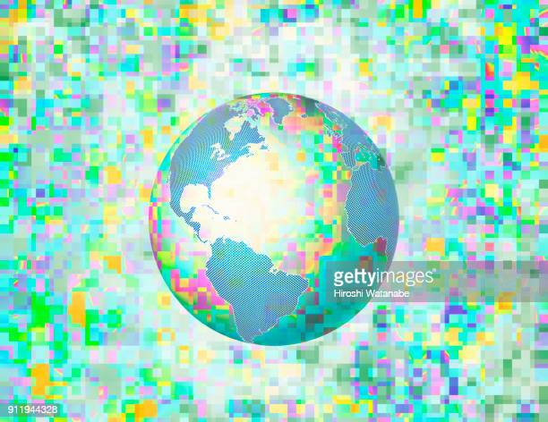 Multi color pixels of data behind the globe. Image of Big Data.