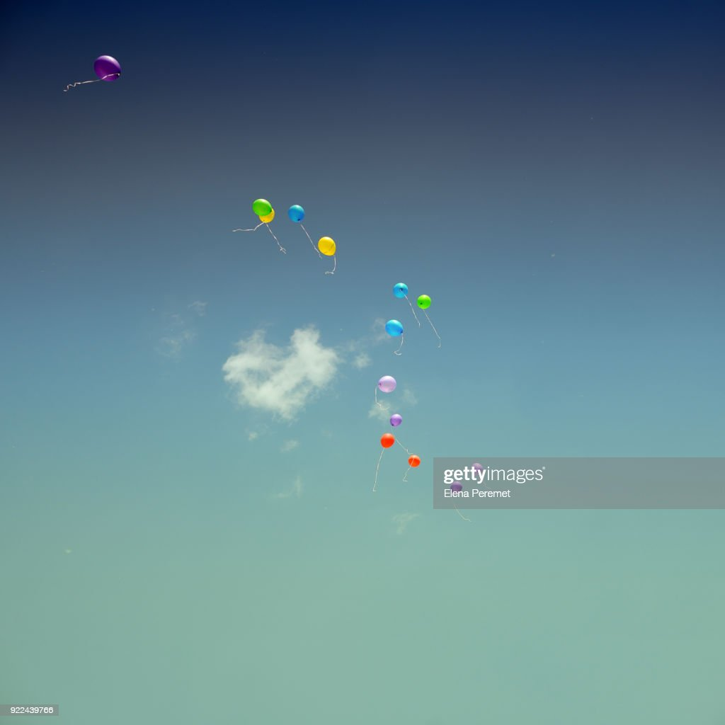 Multi Colored Balloons In Sky : Stock Photo