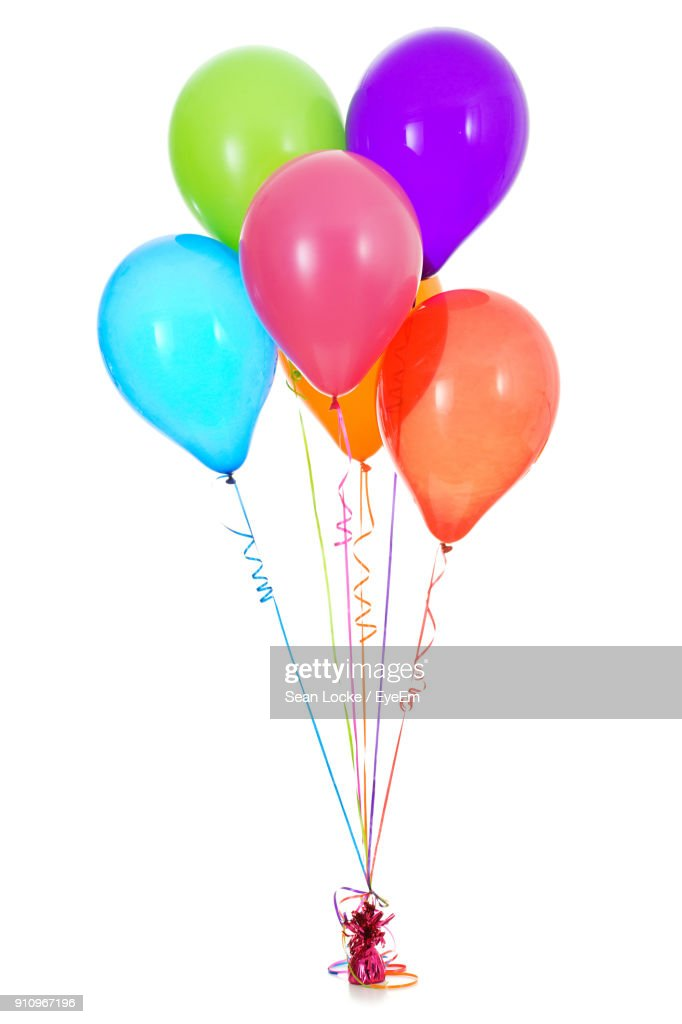 Multi Colored Balloons Tied Over White Background : Stock Photo