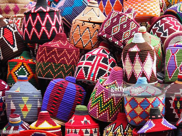 Multi Colored Baskets For Sale At Market Stall