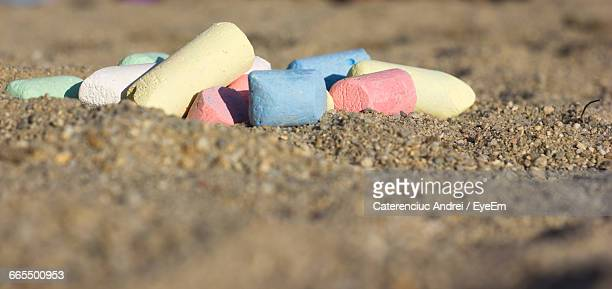 Multi Colored Chalks At Beach