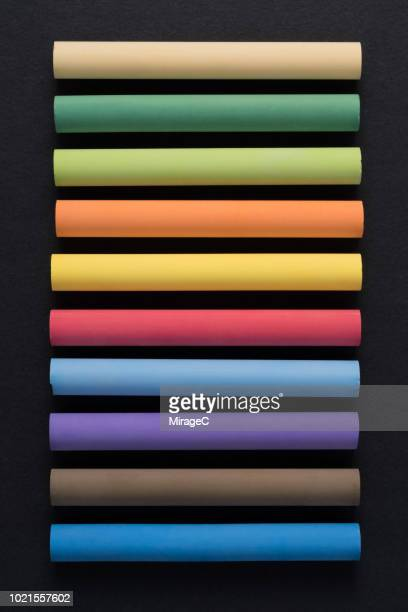 multi colored chalks - colors of rainbow in order stock pictures, royalty-free photos & images