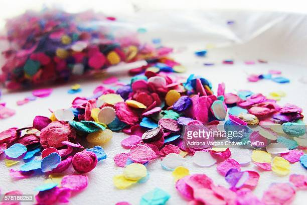 Multi Colored Confetti On White Table