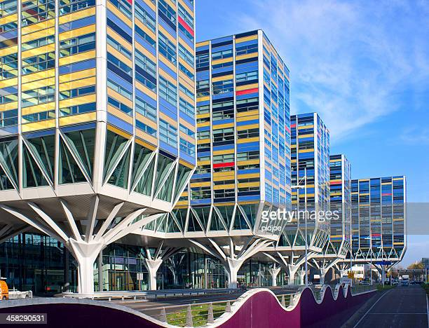 multi colored contemporary office buildings in Leiden The Netherlands