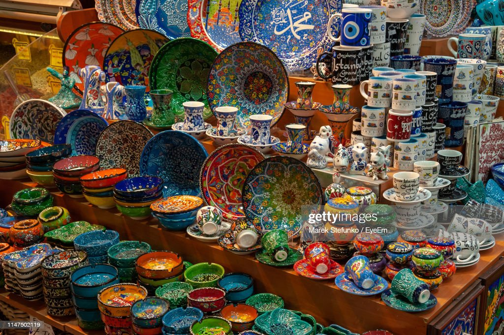 Multi Colored Decorations For Sale In Market : Stock Photo