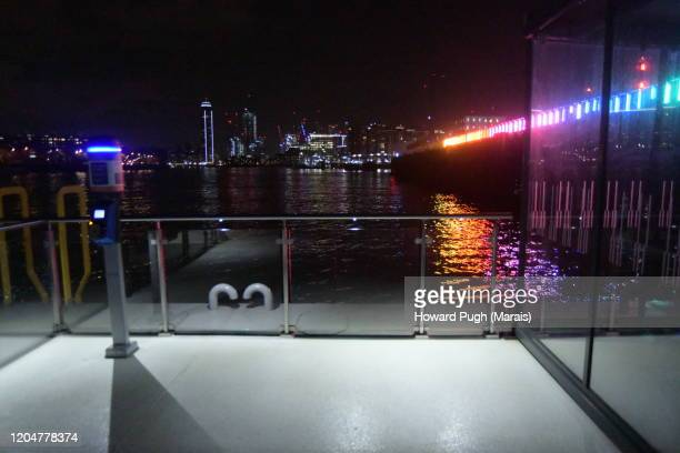 multi colored festival of light & architecture - battersea bridge commercial dock - howard pugh stock pictures, royalty-free photos & images