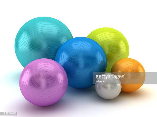 Multi colored fitness balls