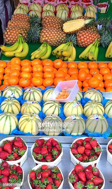 Multi Colored Fruits In A Row On Market Stall