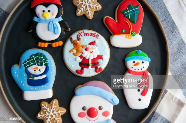 multi colored gingerbread cookies during christmas in plate - animal representation stock pictures, royalty-free photos & images