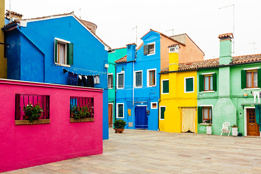 Multi colored houses in Burano village, Veneto, Italy - gettyimageskorea