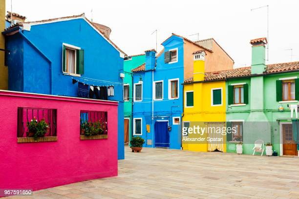 Multi colored houses in Burano village, Veneto, Italy