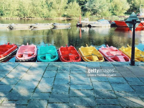 Multi Colored Moored Boats In River