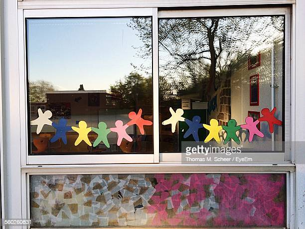 Multi Colored Paper Chains On Window