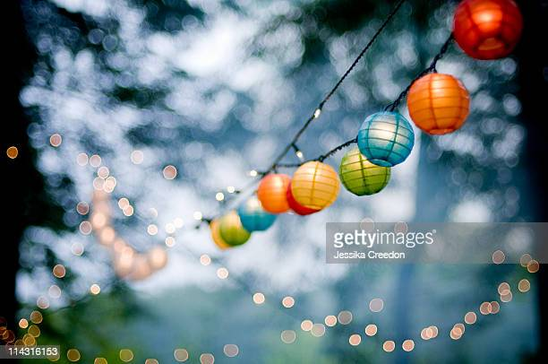 Multi colored paper lanterns and white lights