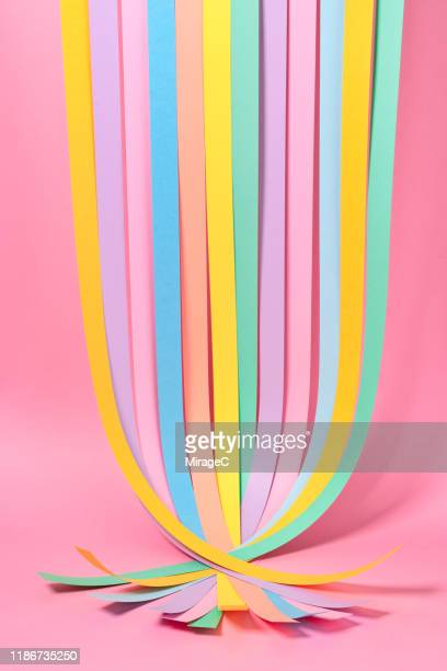 multi colored paper stripes crossed - integrated stock pictures, royalty-free photos & images