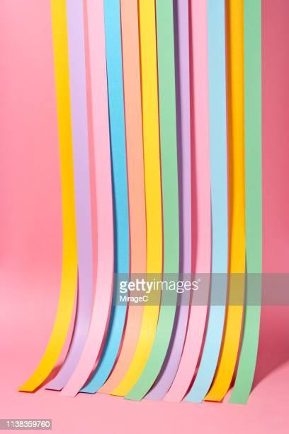 multi colored paper stripes curtain - papierhandwerk stock-fotos und bilder