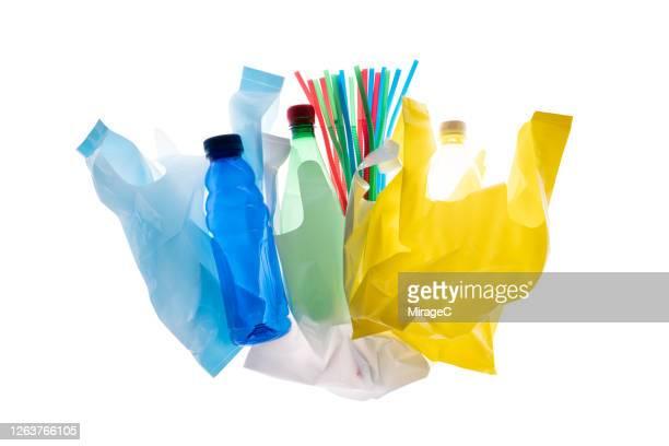 multi colored plastic rubbish for recycling - 打ち捨てられた ストックフォトと画像