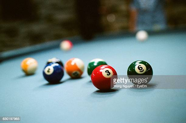 Multi Colored Snooker Balls On Table