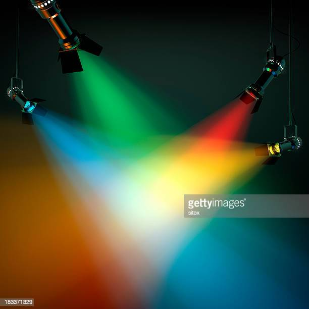 multi colored stage lights - spotlit stock pictures, royalty-free photos & images