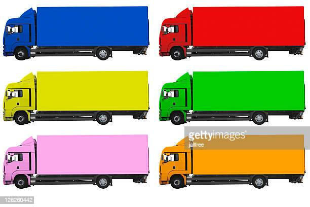 Multi colored trucks on white background with path