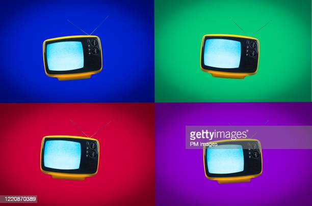 multi colored vintage tv grid - mood stream stock pictures, royalty-free photos & images