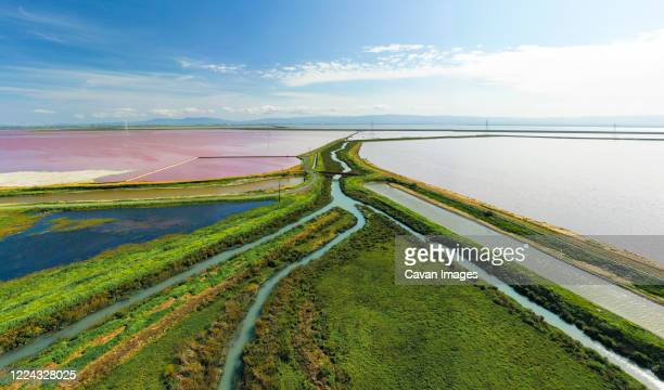 multi colored water in ponds and stream in salt marsh in sf bay aerial - palo alto and 街 ストックフォトと画像
