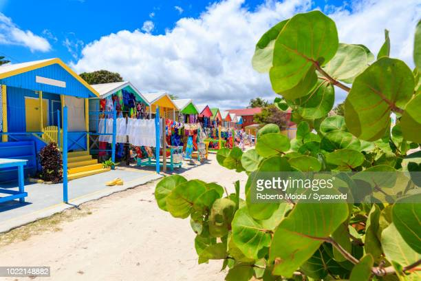 multi colored wood cottages and tourist souvenir shops, long bay beach, antigua - isla de antigua fotografías e imágenes de stock
