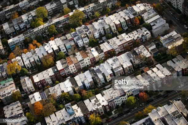 multi coloured buildings - american culture stock pictures, royalty-free photos & images