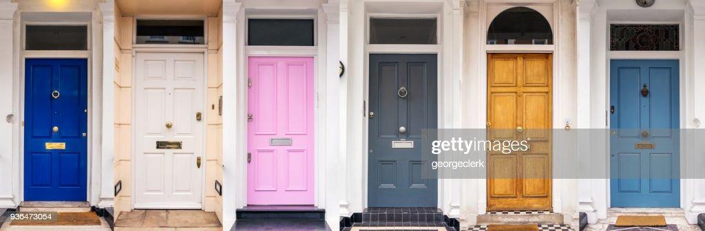 Multi coloured doors of London : Stock Photo