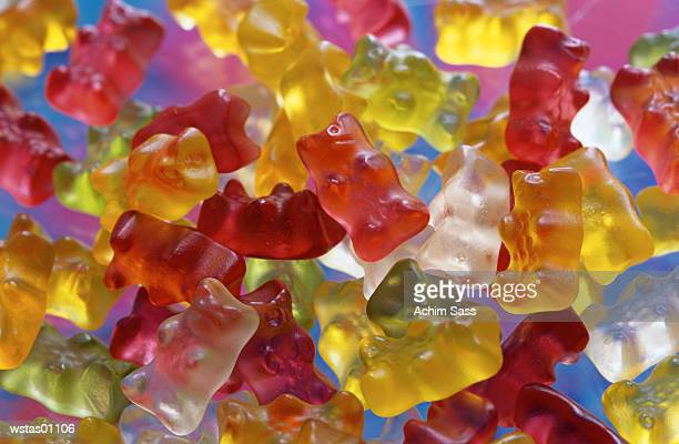 Multi coloured Jellybabies, traditional German sweety, close up