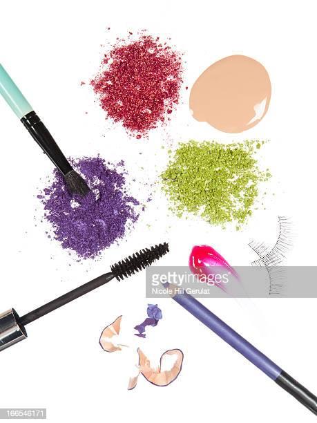 Multi coloured make-up utensils