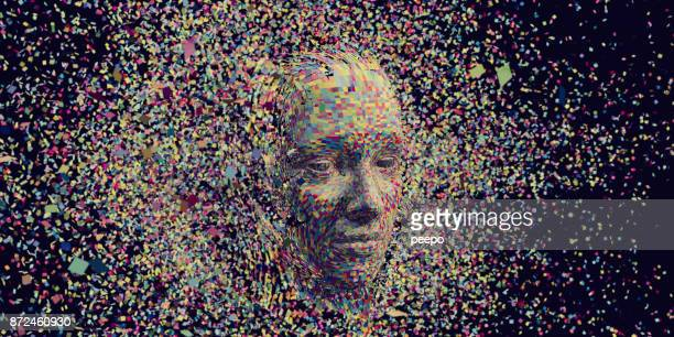 multi coloured squares in mid air gathering to form head - artificial intelligence stock pictures, royalty-free photos & images