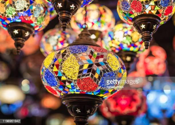 multi coloured traditional lamps - 古代の遺物 ストックフォトと画像