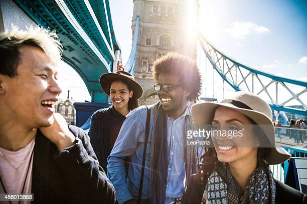 Multi cultural group of friends hanging out in Central London