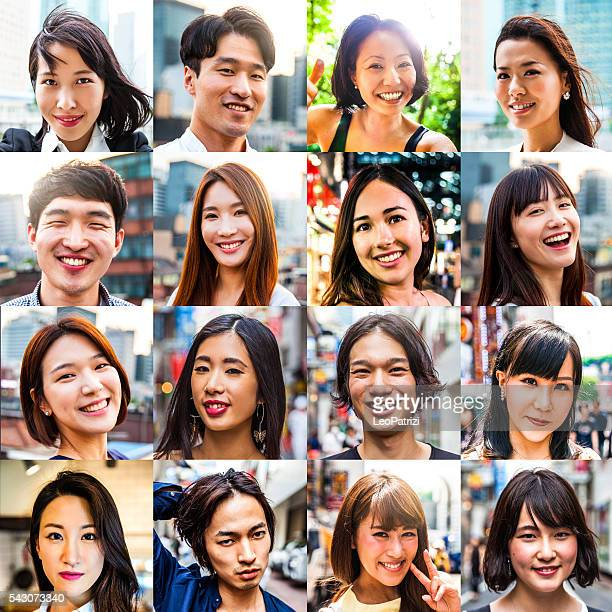 multi ethnic asian people portraits - image montage stock pictures, royalty-free photos & images