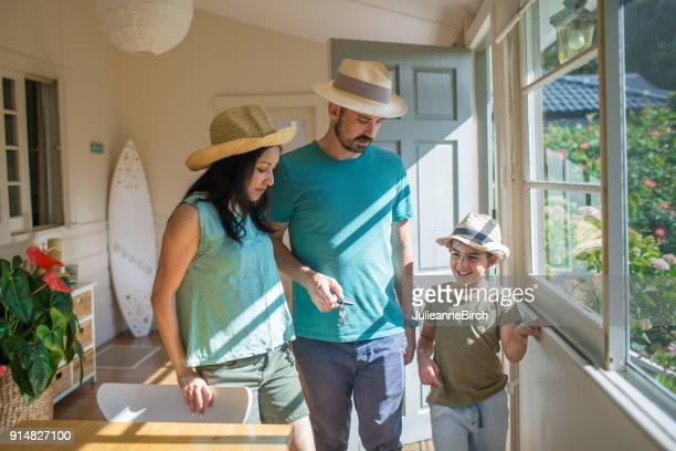 Multi ethnic Australian family preparing to go out together from home
