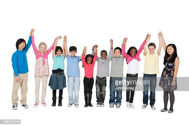 Multi Ethnic Children Raising Their Hands
