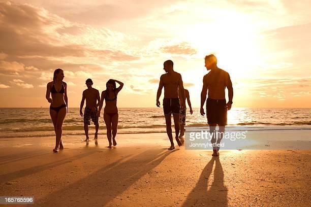 Multi ethnic friends walking on the beach