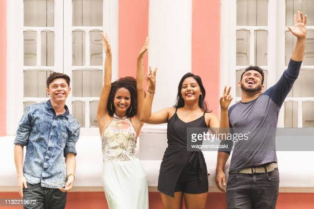 multi ethnic group of brazilian young friends having fun outdoors - para state stock pictures, royalty-free photos & images